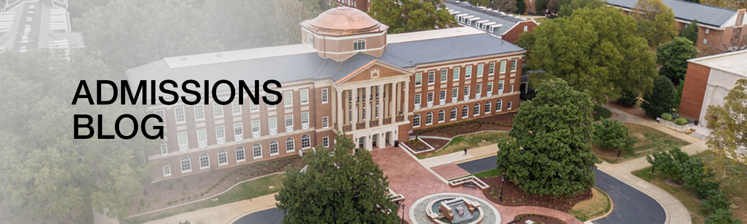 Admissions Blog - Aerial View of Johnson Hall on Meredith College Campus with the text Admissions Blog over the image