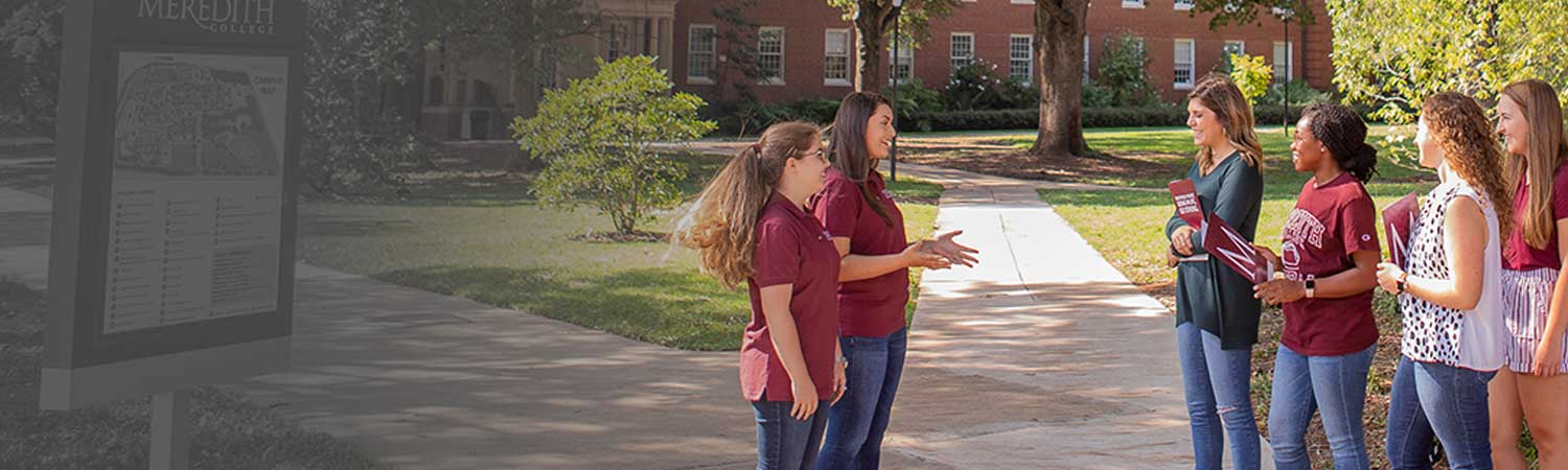 Meredith Admissions counselors conducting campus visit session to prospective students