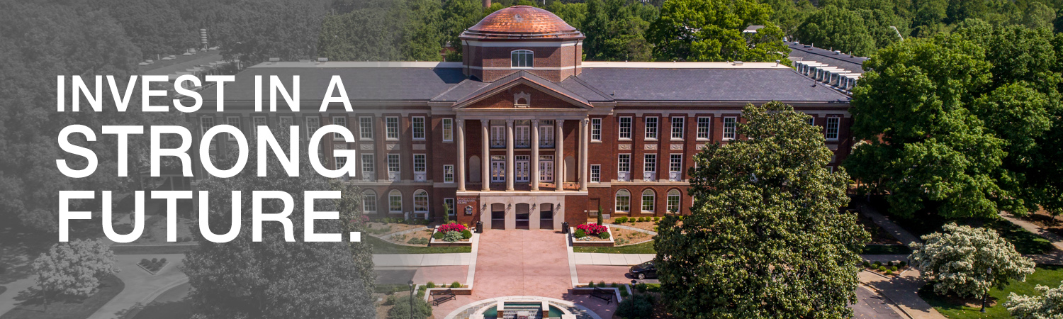 Arial photo of Johnson Hall with text saying Invest in a Strong Future