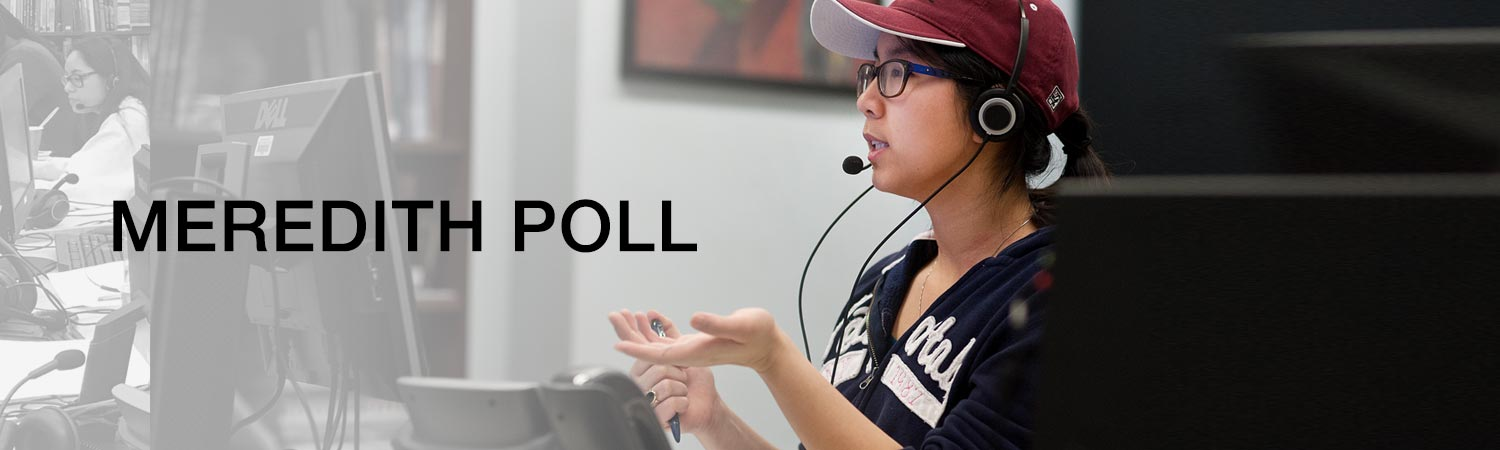 Meredith College Poll. Student on phone polling person on telephone