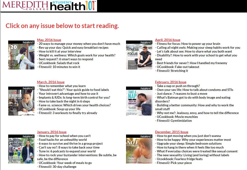 Example of Archived Issue of Student Health 101