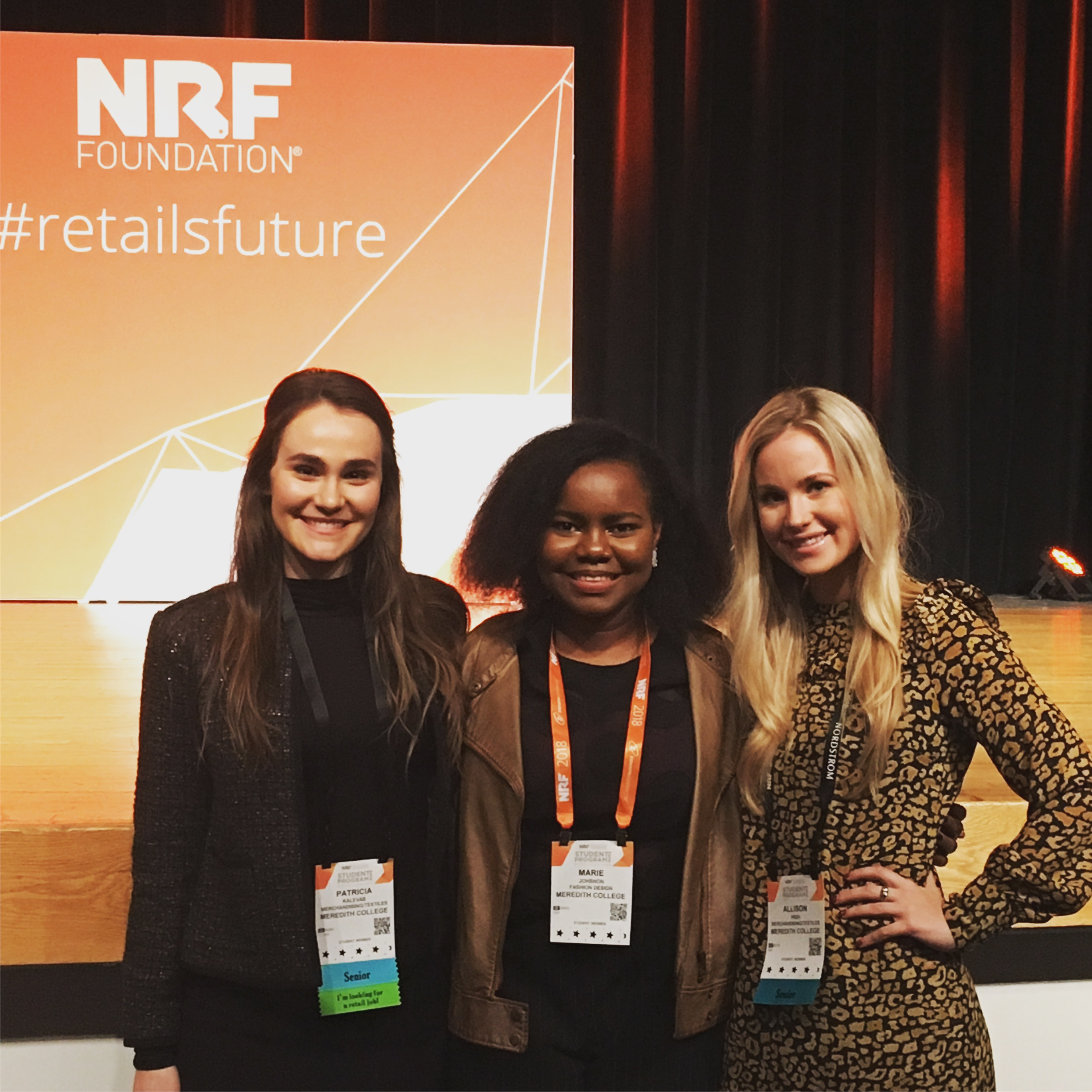 Three students at the 2018 National Retail Federation Annual Expo