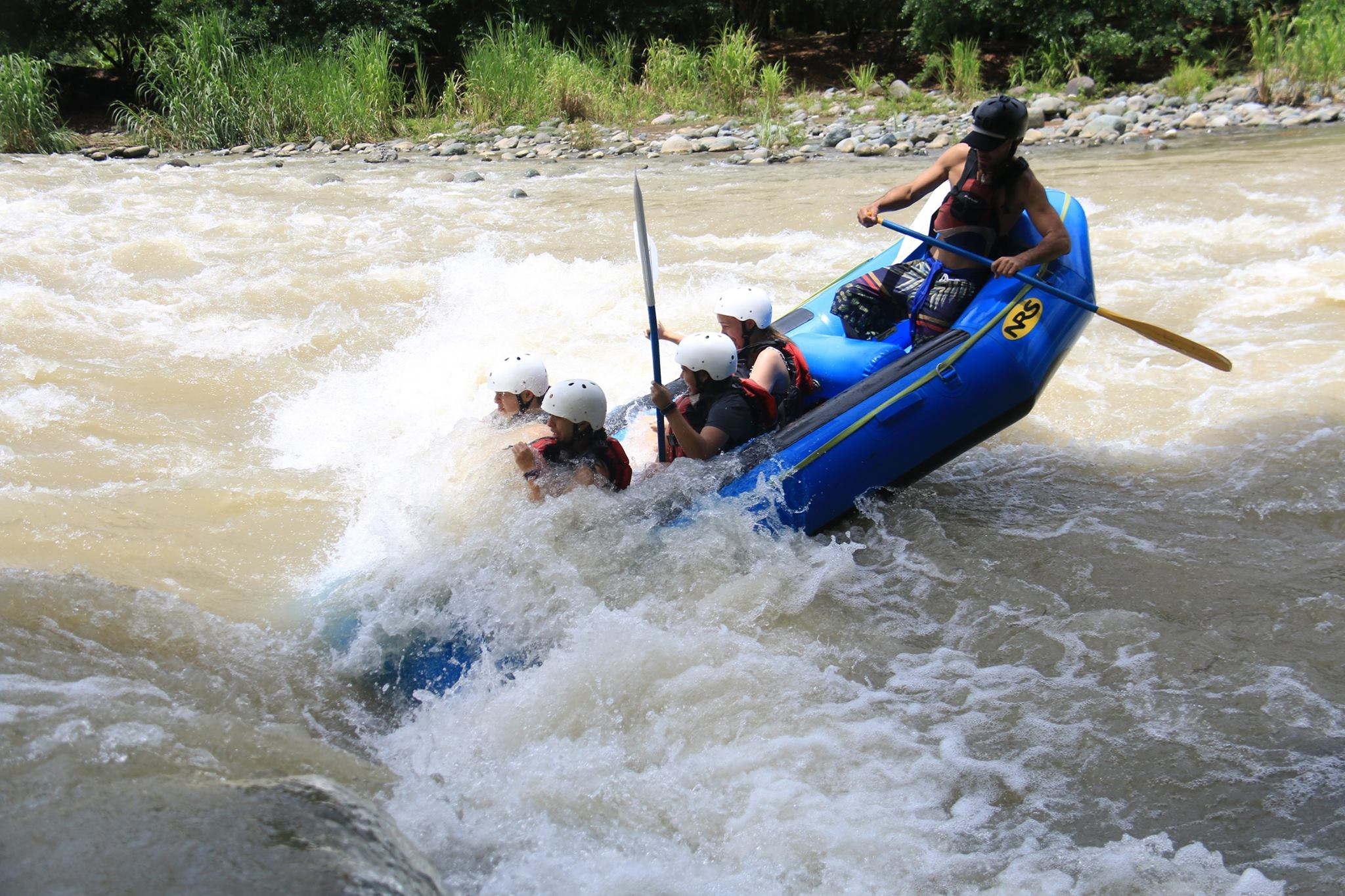 Students white water rafting in Costa Rica