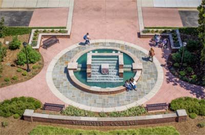 Arial view of the Beam Fountain with students seated