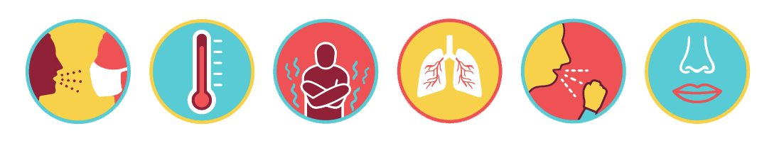 Contact, Thermometer, Chills, Respiratory, Coughing and Taste Icons