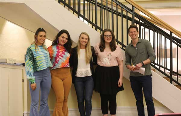 Caption: 2019 Elevator Pitch Challenge Winners: McKenzie May, Caitlin Chastain, Kathryn McNeil, Maddison Loewe, Jon Rosar (CEO & Founder of RevGen)