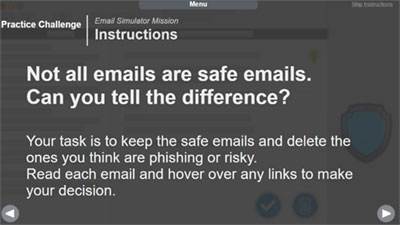 Graphic stating that Not all emails are safe. Can you spot the difference?