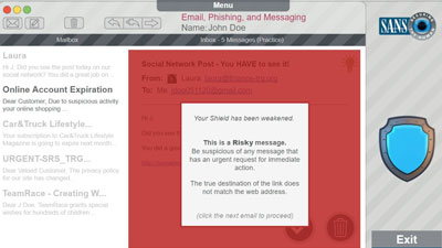 Graphic highlighting in red the area of the email that could indicated that its a scam