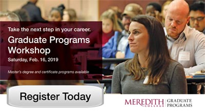 Image with text saying Take the Next Steps in Your Career with a link to the Graduate Programs Workshop on Feb. 16, 2019