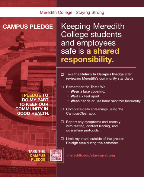 Staying Strong pledge poster with tips and links to keep campus safe