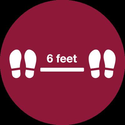 Graphic showing shoe prints 6 feet apart
