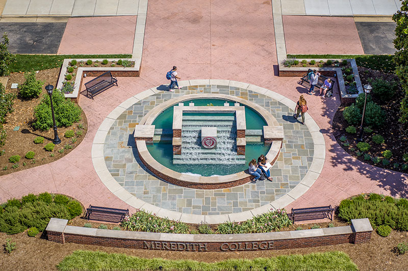 Arial View of Johnson Hall Fountain