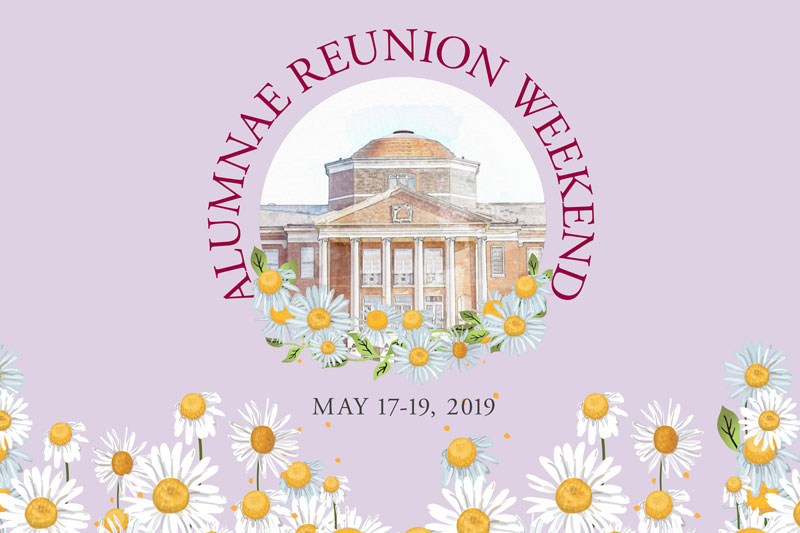 Alumnae Reunion Graphic featuring a drawing of Johnson Hall and daisies