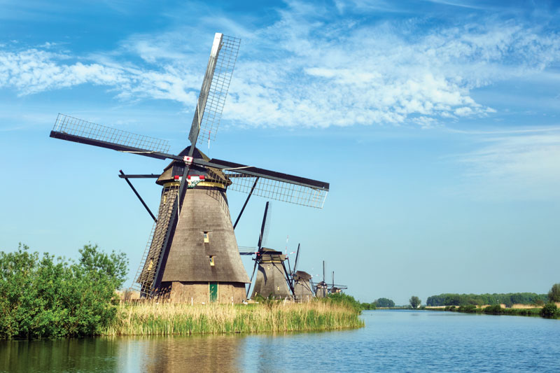 Windmill in Holland on a lake