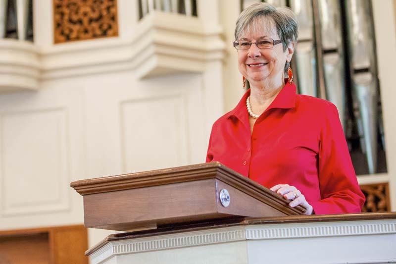 Betty Webb speaking in Jones Chapel