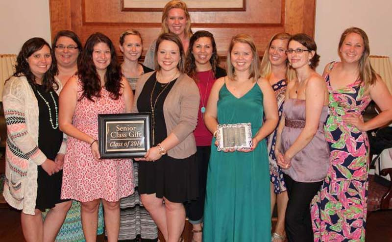 Alumnae from the Class of 2014 at dedication for their Class Gift project