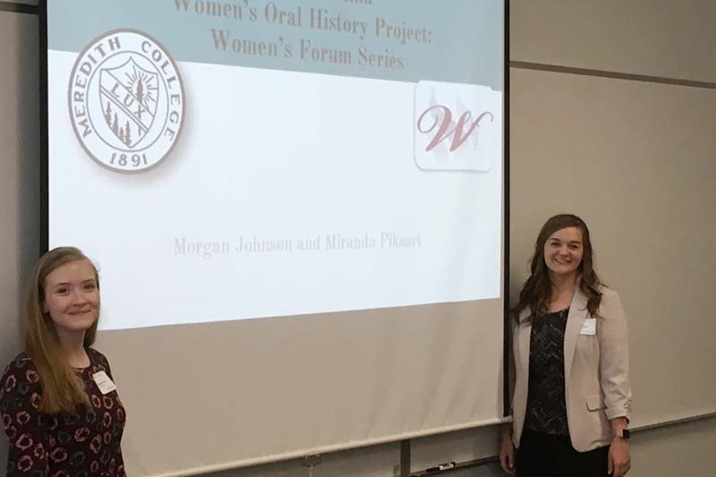 Students Morgan Johnson and Miranda Pikaart present about their ERA history project
