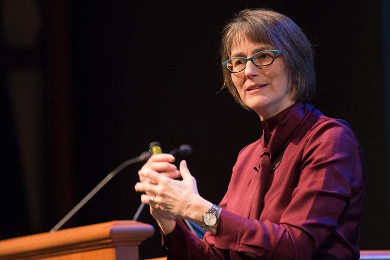 Barbara Fredrickson at lecturn