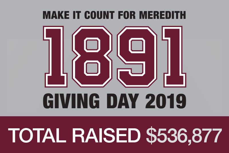 Giving Day graphic that says Make it Count for Meredith 1891 Giving Day 2019 Total Raised $536,877
