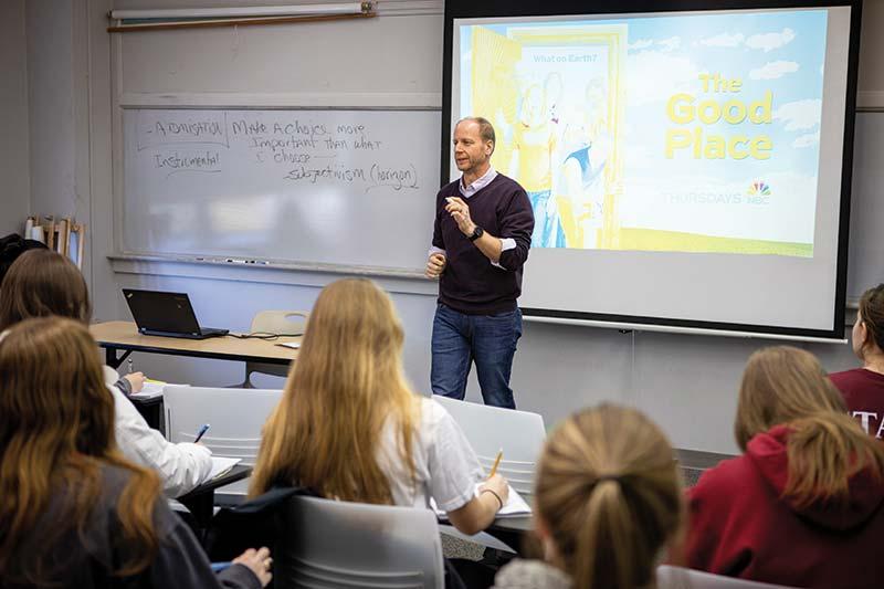 Associate Professor Steven Benko has designed a religious ethics course around the NBC sitcom The Good Place