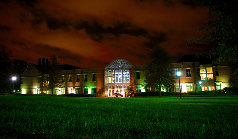 Science and Math Building at night