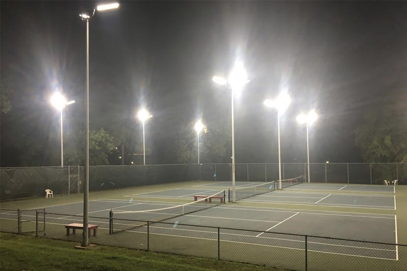 Meredith Tennis courts at night with the new LED lights on