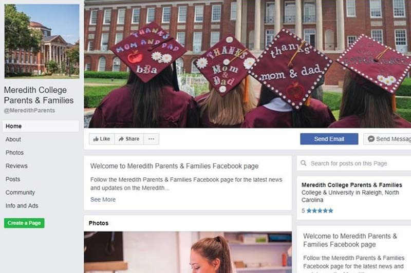 Meredith Parent and Families Facebook page screenshot