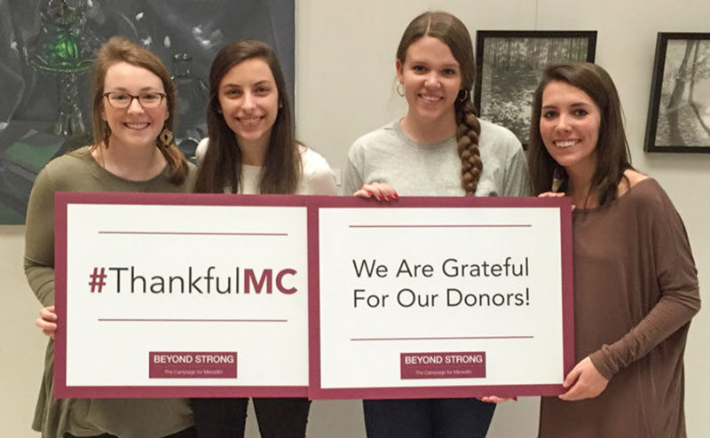Students thank donors at the Cate Center