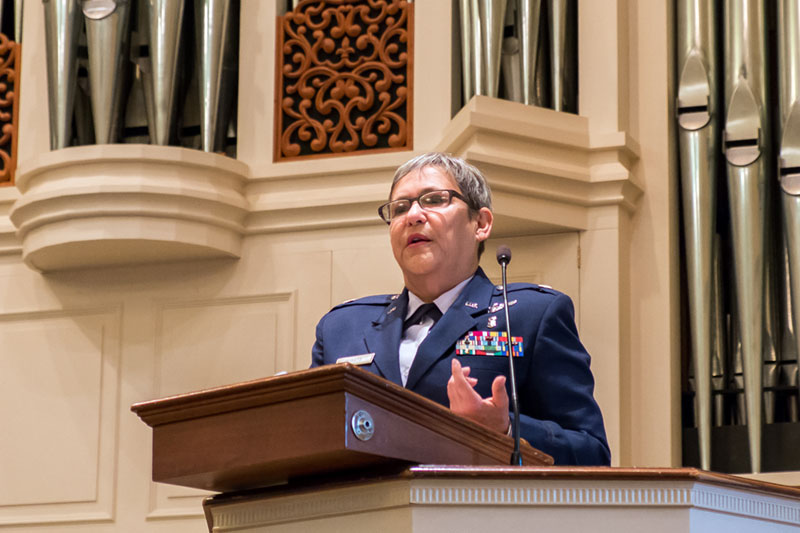 Veterans Day Speaker Bernie Donato at lectern in Jones Chapel