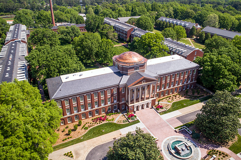Aerial photo of Johnson Hall