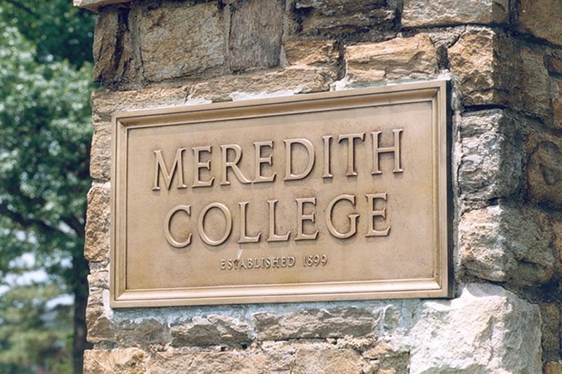 Meredith College sign at front gate
