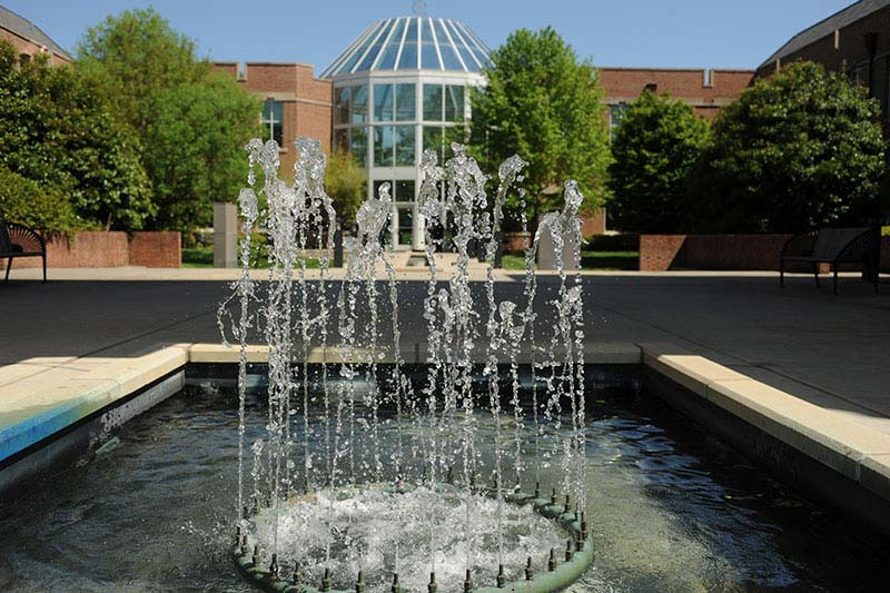 Science and Mathematics Building and fountain
