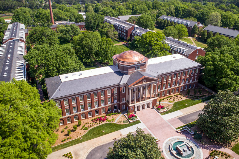 Aerial view of Johnson Hall