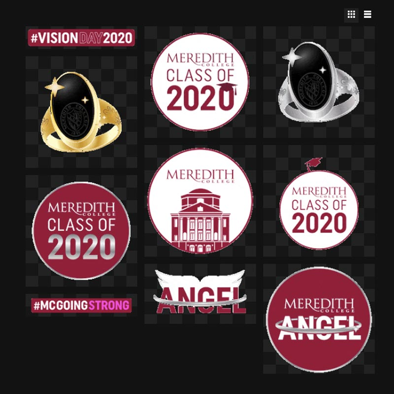 Static Graphic of animated graphics and stickers for Meredith College Celebration of the class of 2020