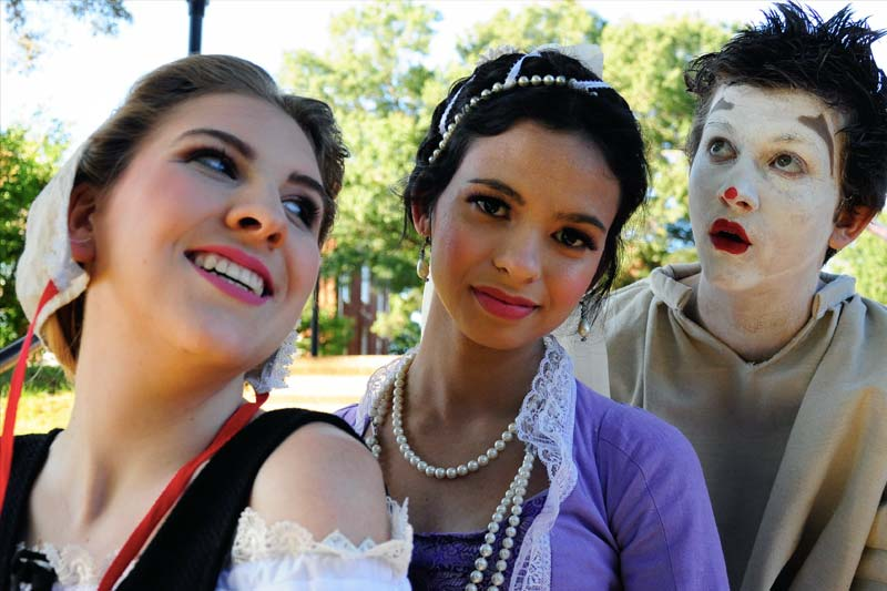 Three members of the cast of The Duchess Mislaid