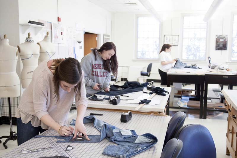 Fashion Design Cutting Denim on Table