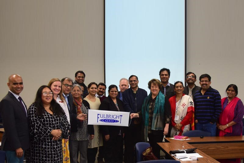 Group photo of visitors from the Fulbright-Nehru International Education Administrators Seminar and Meredith College administrators