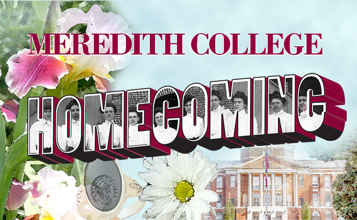 Meredith Homecoming Graphic with drawings of Johnson Hall, the onyx and daisies