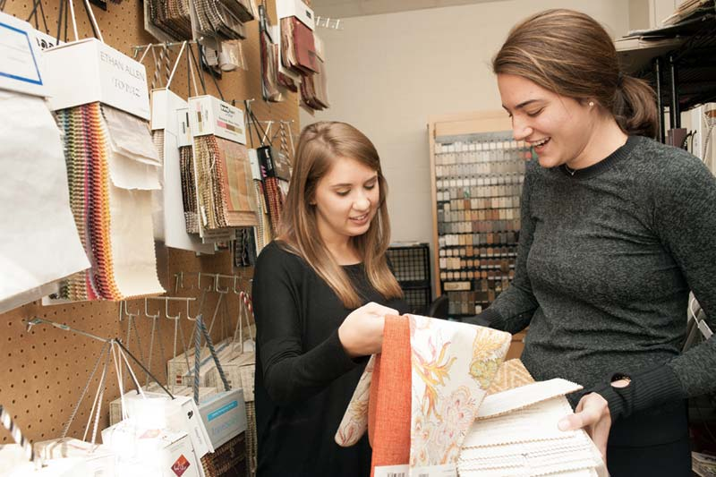 Interior Design looking at Fabric Samples