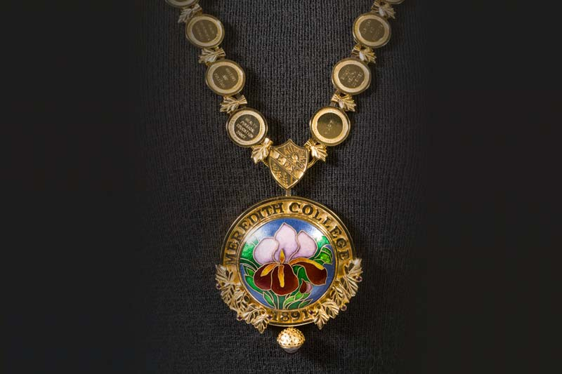 Mary Ann Scherr Art Necklace of Iris and Seal