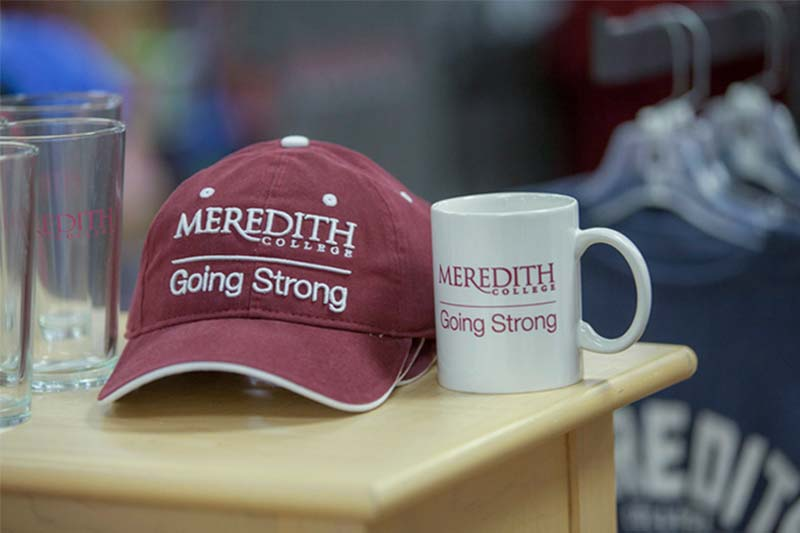 Meredith College branded hat and mug