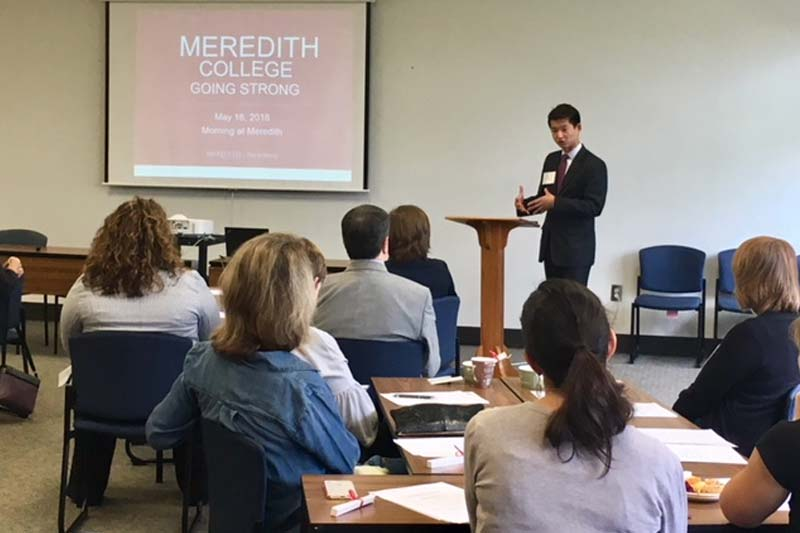 Image of Christopher Chung, CEO of EDPNC, speaking at the Morning at Meredith Career Planning Event on May 16, 2018