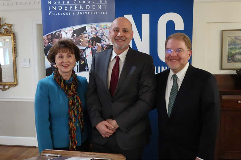 Meredith Provost Matthew Poslusny, N.C. Community College System President Peter Hans, and North Carolina Independent Colleges and Universities President Hope Williams signed the articulation agreement today at a ceremony held at William Peace University