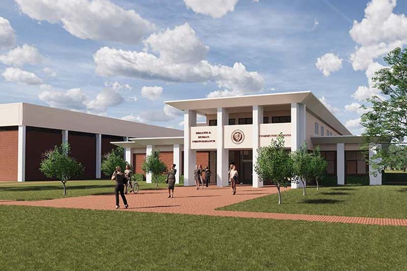 Rendering of new Communication Building being built at Meredith College in 2020