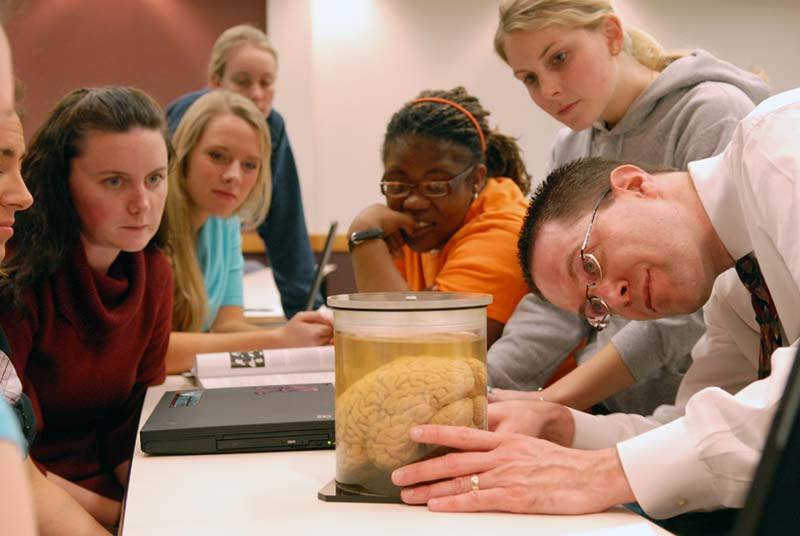 Professor of Psychology Mark O'Dekirk with a group of students gathered around as he shows a brain in a class jar.