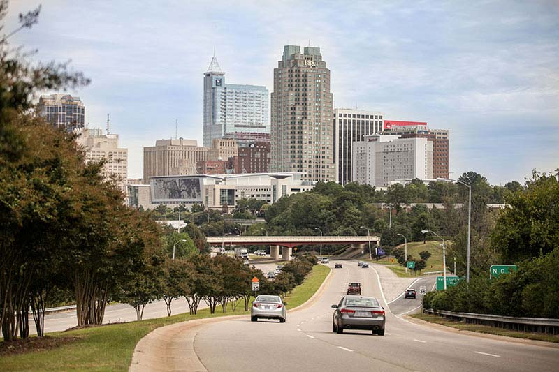 The city of Raleigh skyline
