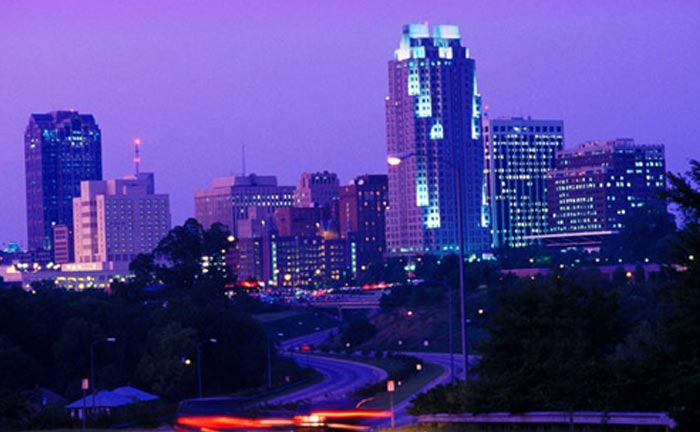 Raleigh skyline at sunset