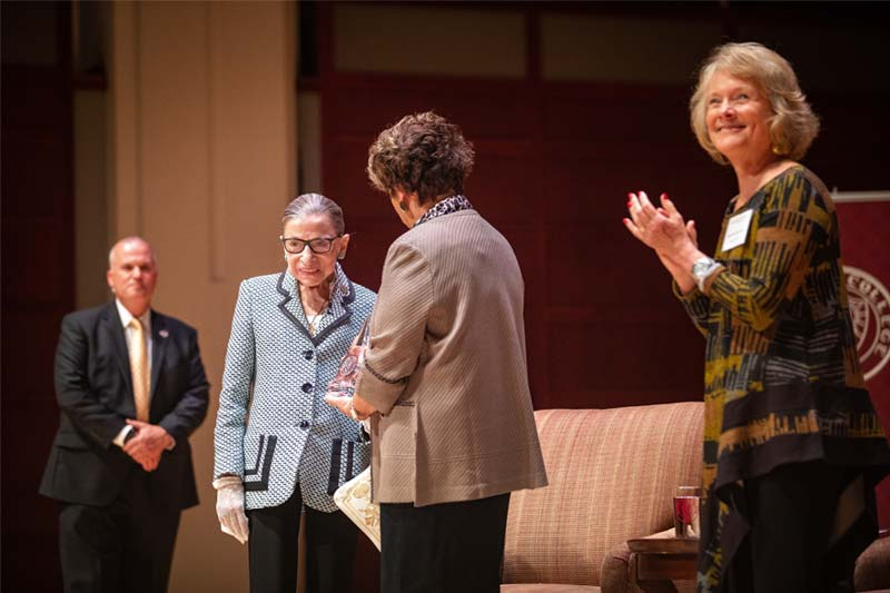 Ruth Bader Ginsburg welcomed to stage