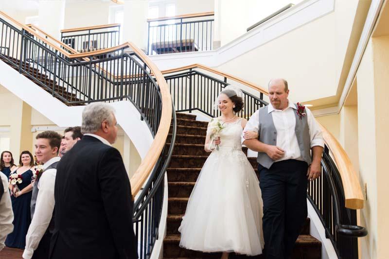 Wedding in Johnson Hall Rotunda Stairs