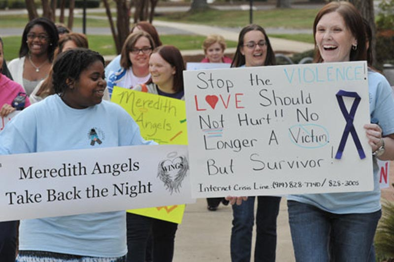 Sociology - Meredith Angels participate and organize a Take back the night March